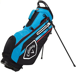 NEW Callaway 2021 Chev Stand Bag Black/Cyan/Fire Red Double Strap Stand Golf Bag