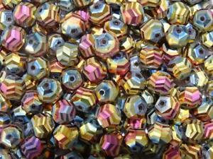 Electroplated Chevron Cut 'Mystical Sunset' 10mm Glass Beads