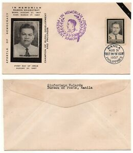 1957 PHILIPPINES FDC Cachet Magsaysay Mourning Scott 630 RARE Cover