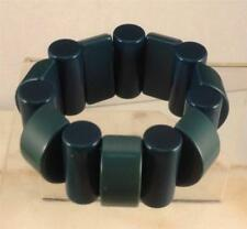 VINTAGE DARK TEAL BLUE LUCITE GEOMETRIC STRETCH BRACELET EBA8