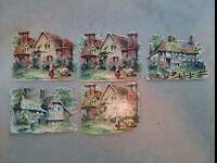 """#Original Vintage Cottages Lot of 5 Die Cut Paper 3 x 2.5"""""""