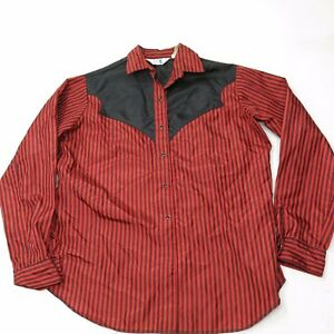 Vtg 70's MISS RODEO AMERICA Western Shirt pearl snap Red Black Striped SZ 17/18