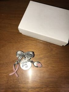 """Longaberger Lapel Pin """"Never Give Up"""" Breast Cancer Awareness Ribbon Tulip"""