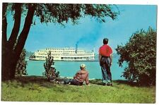 Steamboat on the Mississippi Hannibal Mo Missouri Ship Postcard