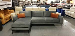 Merlin BRAND NEW designer grey chenille fabric large chaise corner sofa