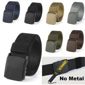 Mens Nylon Webbing Belt Tactical Military Canvas Trouser Jeans Belts No Metal
