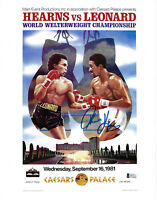 Tommy Hitman Hearns Signed 8x10 Boxing Photo Fight Poster - Beckett BAS