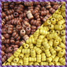 100 Perles Legno Tubo 2 coloris Marrone Scurire / Giallo