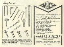 1953 Cw Hayles Midland Nail Works Marfac Liverpool Ad