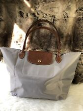 NEW Authentic Longchamp Large Le Pliage Packable Nylon Tote Shopper Bag In Grey.