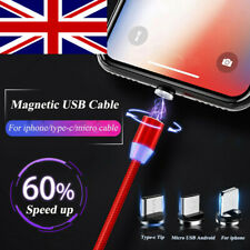 UK USB Magnetic Quick Charge LED Cable For Samsung Galaxy S7 S8 S9 Plus IOS