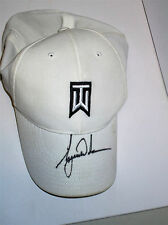 TIGER WOODS HAND SIGNED WHITE NIKE TW CAP UNFRAMED + PHOTO PROOF C.O.A