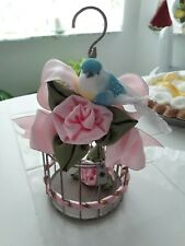 Shabby Pink Roses Decorated Aqua Rusty Iron Birdcage w/ Birdie