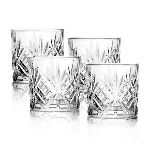 Set of 4 Whiskey Tumblers Glass Tumbler Gift Set Soft Drink Glasses M&W
