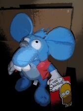 """The Simpsons Itchy and Scratchy Show Plush Blue Mouse Nanco 12"""" NWT"""