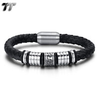 TT Greek Pattern Black Leather 316L S.Steel Bead Magnet Buckle Bangle