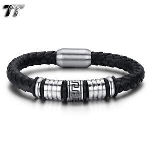TT Greek Pattern Black Leather 316L S.Steel Bead Magnet Buckle Bangle