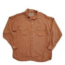 1950s Donegal Fitzhugh Rayon Sportswear Textured Shirt Vintage Loop Collar 1940s