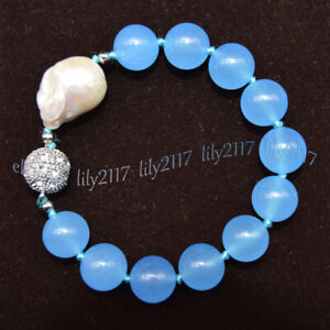 Huge 14MM Natural Blue Jade Round Gems &White Keshi Baroque Pearl Bracelet 7.5''