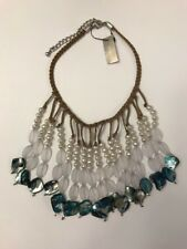 NWT CHICOS Louisa Bib Necklace Braided Brown Strand and White/Blues Beads #55648
