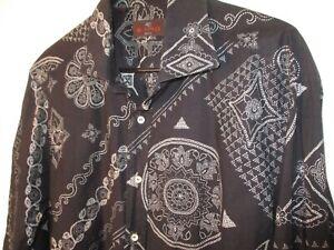 Beautiful Large (Size 43) Black & White Geometric ETRO 100% Cotton Shirt-Mint