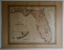 Colton'S 1855 Map Of Florida Lewis & Clark Explorer Map Before 1967 Plate 30