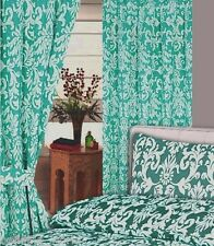 """66""""x72"""" CURTAINS DAMASK JADE WHITE FLORAL LEAVES GREEN WITH TIE BACKS"""