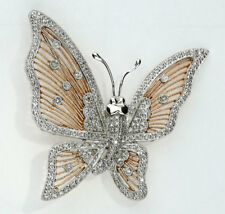 RARE UNIQUE QUALITY Diamond butterfly pin 14K rose white gold 169 rounds .70CT