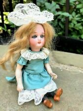 "6"" Antique bisque French / German wood body Mignonette miniature doll  378 / 2"