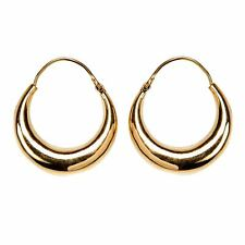 81stgeneration Gold Tone Brass 35 mm Round Tube Chunky Creole Hoop Earrings