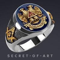 Masonic Ring AASR 32 Degree Master Freemason 925 Silver 24K-Gold-Plated Parts