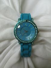 Rhinestone Glam Analog Watch with Rubber Buckle Band WORKING!