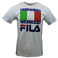 FILA Mens T Shirt M XL Athletic Sports Apparel Italy Flag Graphic Tee WHITE NEW
