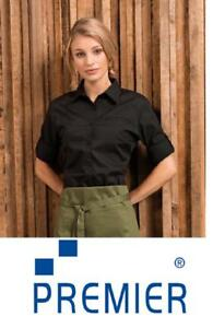 New Premier Ladies Roll Sleeve Poplin Black Blouse Bar PR306 CLEARENCE