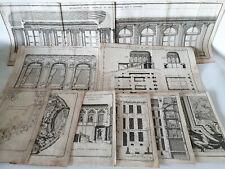 ARCHITECTURE 9 ANCIENNES GRAVURES d'après BLONDEL PATTE RANSONNETTE 1775 XVIIIè