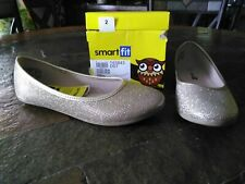 Smart Fit Girls NIB Size 2 Gold Sparkly Chelsea Slip On Shoes Dress Up