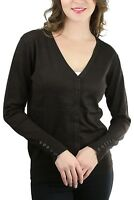 FashionCatch Women's Long Sleeve Button Detail Classic V-Neck Cardigan Sweater