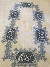 Vintage Art Deco c1928 French hand embroidered linen tablecloth Lilies 50�x 75�