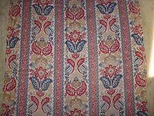 ancien tissu french textile imprimé fleurs rouge Napoleon 3 XIXe 116x75cm / A