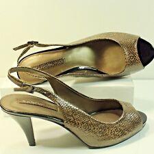 Bandolino Pumps sz 8M PEMBA Opened Toe Ankle Strap Classic Faux Snakeskin