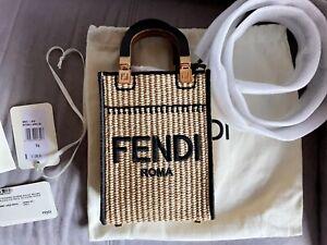 Fendi Mini Sunshine Shopper Bag Paglia Ricamo 2021 Beige 8BS051 AFQP F0VPJ
