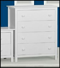Assembled Ice White hardwood 4 drawer Tallboy chest of drawers