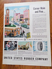 1944 U S Rubber Tire Ad Bus Corner Main & Pine