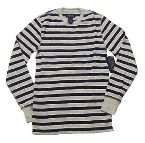 Polo Ralph Lauren Men's Gray/Blue Stripe Waffle Knit Thermal Crew-Neck T-Shirt