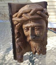 fine carved wood log weeping Jesus Christ crowned with thorns