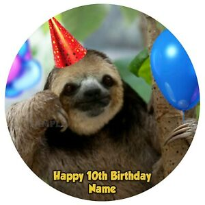 Sloth Party Hat Balloons Edible Image icing cake topper decoration custom round
