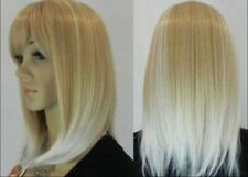 New stylish  Blonde mix white straight lady's hair full wigs+wig cap
