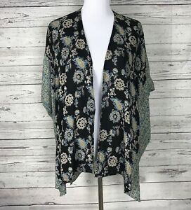 ANGIE Women's Black / Tan Open Front Boho Kimono 100% Rayon Duster / Jacket Sz M