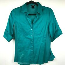Ann Taylor Women's Button Down Shirt Size 4 Solid Green Casual Short Sleeve