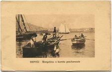 1928 Napoli Mergellina barche pescherecci Buoni Fruttiferi Postali FP BN VG ANIM